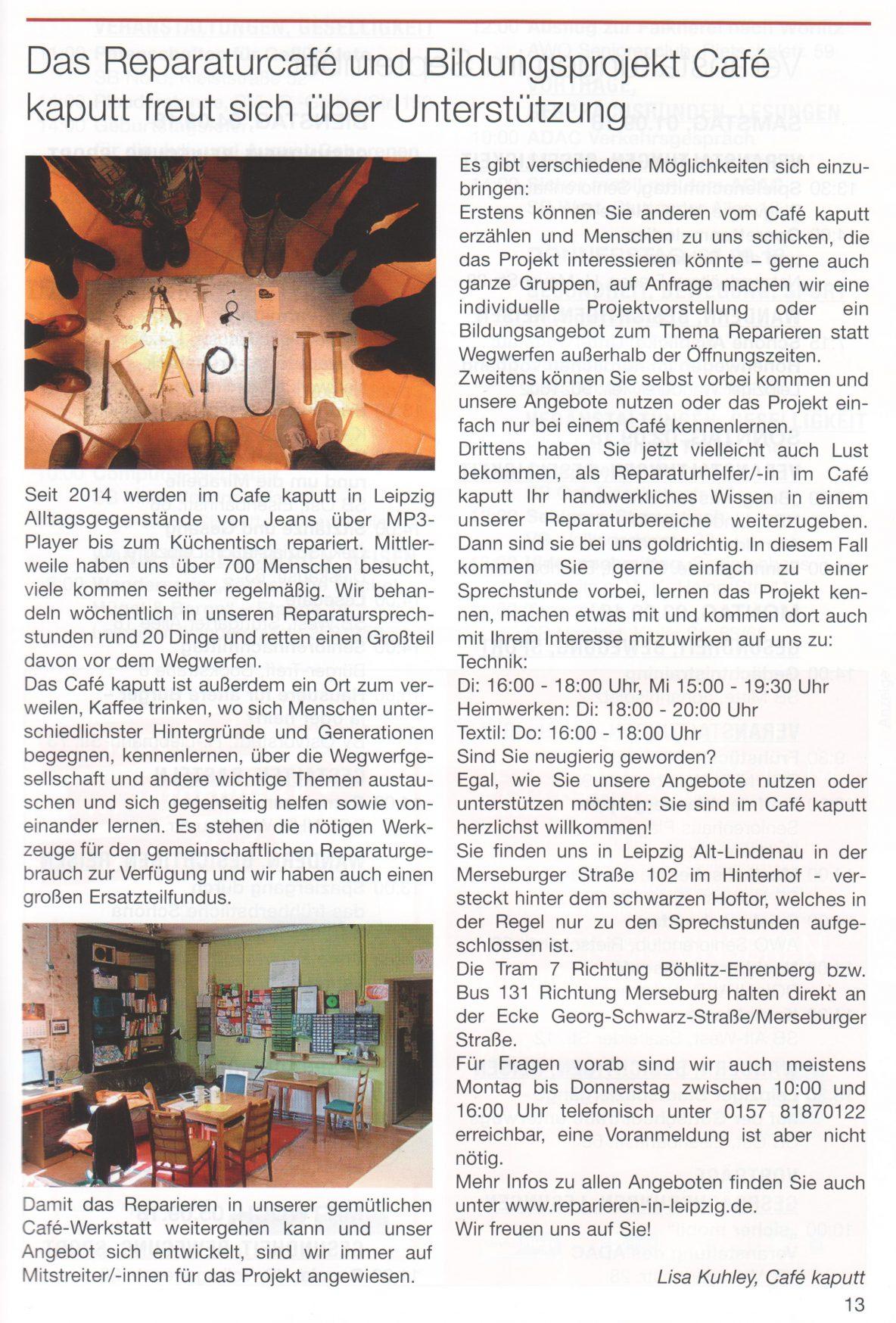 Bild zeigt den Artikel im Magazin Aktiv leben, 2018