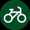 Icon: Weißes, gezeichnetes Fahrrad in einem dunkelgrünen Kreis.