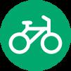 Icon: Weißes, gezeichnetes Fahrrad in einem hellgrünen Kreis.