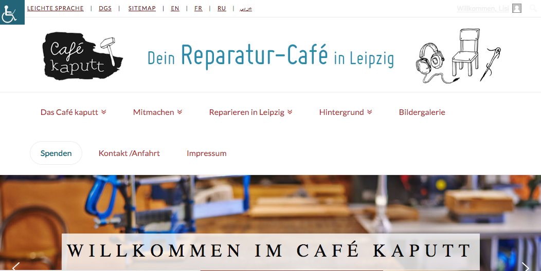 Screenshot: Barrierefreie Webseite Startseite
